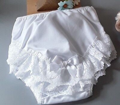 New Fan Lace Trim White Bow Frilly Pants. Large.