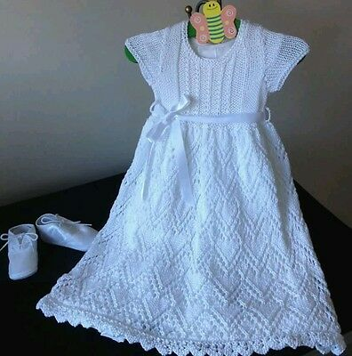 New Hand Knitted Christening Gown 0-6 months with Petticoat.