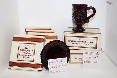 Avon CAPE COD (8) Bread Butter Plates (2) Mugs with Boxes