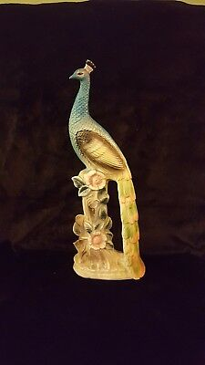 Vintage Ceramic Peacock Figurine Statue vtg Figure Antique Mid-Century