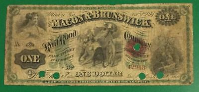 """1861 $1 US Macon & Brunswick RAILROAD """"LARGE SIZE"""" Currency! Rough"""