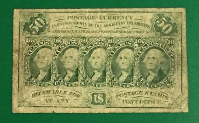 """1862 US FRactional Currency """"FIFTY CENTS"""" VG! Old US Paper Money Currency"""