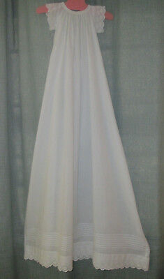 Antique Christening Gown Dress White Cotton w/Embroidered Eyelet Lace & Pintucks