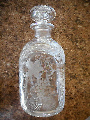 "Unique Antique Leaded & Etched Cut Glass Wine Decanter ""Success to Repeal 1933"""