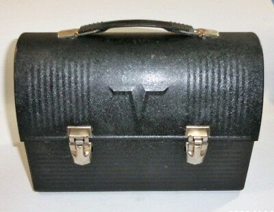 "Vintage King Seeley Thermos Brand Black Metal Dome Lunchbox with a ""V"""