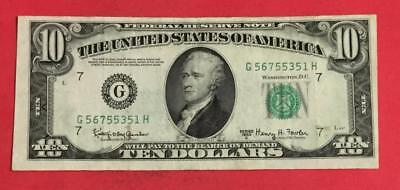 1950E $10 Green Federal Chicago X351 CHOICE FINE! Old US Paper currency