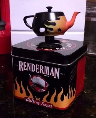 RenderMan Teapot Siggraph 2006 Collectible - Black with Flames - Good Condition