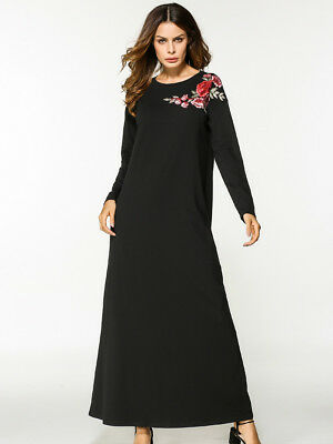 Autumn Long Sleeve Fashion New Style Dress Flower Embroidery Maxi Casual long