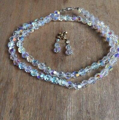Longish Crystal Vintage Necklace With Matching Earrings For Pieced Ears