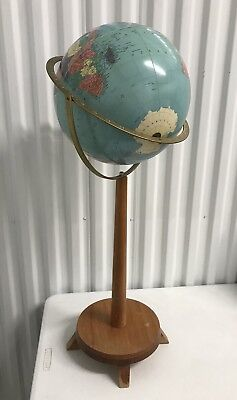 "Vintage Replogle 12"" Reference Globe USSR Floor Model with Wood Stand - 33"""