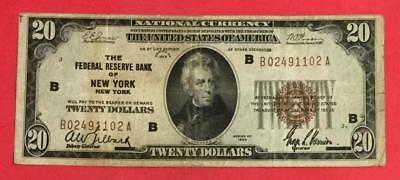 1929 $20 Brown Seal National Currency New York FINE! X102 Old US Currency