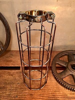 One Vintage Style Brass Copper Bulb Cage Guard Heavy Gauge. Steampunk Antique