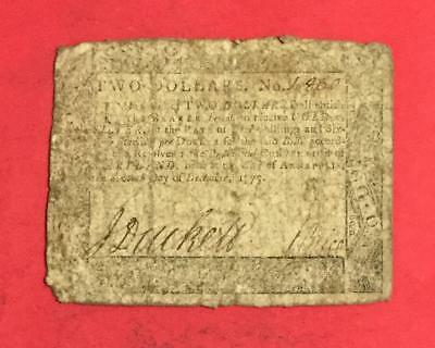 1775 $2 US Colonial Currency Annapolis Maryland! CV $100 VG! Old US Currency