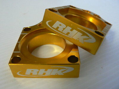 Kawasaki KX450F 2012 2013 Gold Axle Blocks Chain Tensioners Adjusters RHK-AB03-G