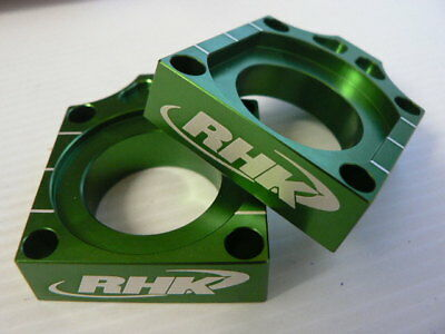 Kawasaki KX250 2004 2005 Green Axle Blocks Chain Tensioners Adjusters RHK-AB03-E