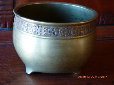 Antique Chinese Censor Or Bowl, Brass Footed, Excellent Antique Condition