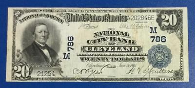 "1902 $20 Blue National Bank ""LARGE SIZE"" Cleveland! FINE! Old US Currency"