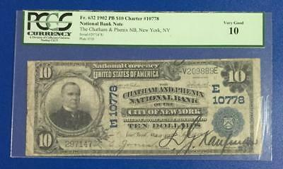 "1902 $10 Blue National Bank ""LARGE SIZE"" New York PCGS VG 10! Old Currency"