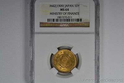 M42 (1909) Japan 10Y Ministry of Finance Hoard Gold Coin NGC MS 64 LOOK | 8578