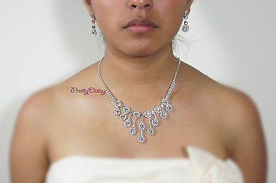 Crystal Rhinestone Necklace Earring Set Silver Color Bridal Wedding Prom Party