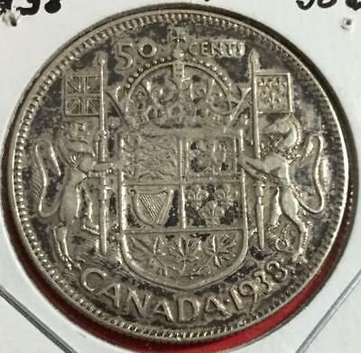 1938 Canada SILVER Fifty Cents Only 192K Minted! VG! Old Canadian Coin