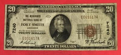 "1929 20 Brown Seal ""Fort Smith, Arkansas"" CV $125 FINE! VG! Old US Currency"
