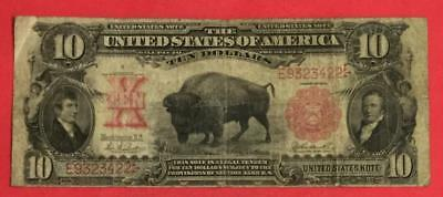 """1901 $10 US """"LARGE SIZE"""" BISON NOTE! VG! Hard to Find! Old US Currency"""