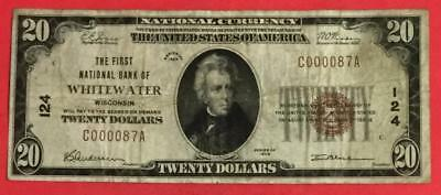 "1929 $20 Brown National Currency ""Whitewater, WISCONSIN"" FINE! CV $400 FINE!"