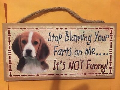 """191HS Dachshund Stop Blaming Your Farts 5/""""x10/"""" Aluminum Hanging Novelty Sign"""