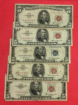 1953-1963 $5 Blue SILVER Certificate & RED US Legal Tenders SEt of 5! X909
