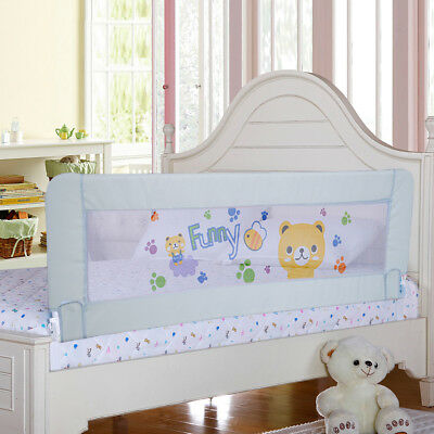 Baby Grey Bed Rail Children Extra Long Bed Guard Safety Protector Fold Down