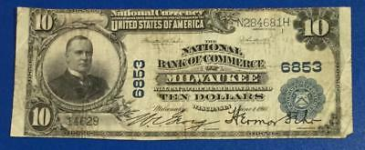 """1902 $10 Blue National Currency """"LARGE SIZE"""" Milwaukee WISCONSIN!"""