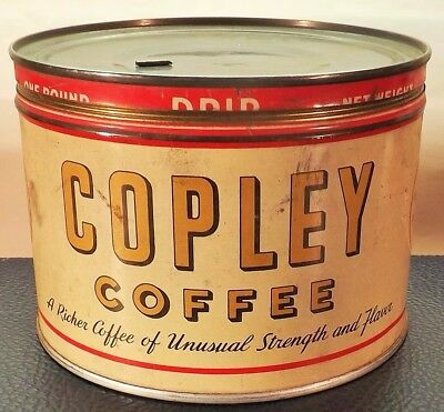 Vintage    COPLEY   COFFEE    TIN     One Pound Drip Grind