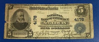 """1902 $5 Blue National Currency St. Louis! Holed & Rough """"LARGE SIZE"""""""