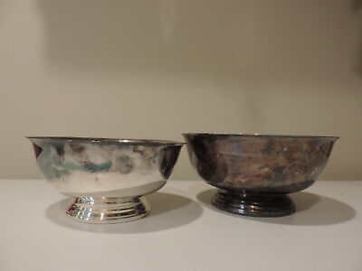 """Vintage REED & BARTON 8"""" AND 9""""  Paul Revere Reproduction PEDESTAL BOWLS"""