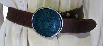 Brown BELT Green Enamel AZTEC Calendar Buckle Genuine LEATHER Sz 28 80s Vintage