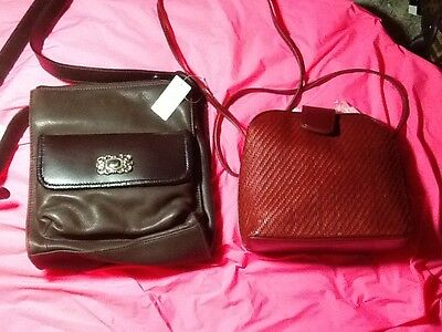Fossil leather bag lot of 2 red/dark brown small/med size cross bodys