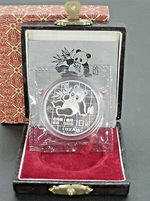 1989 Chinese Silver Panda 1oz Proof Silver Coin with Original Wooden Box & COA