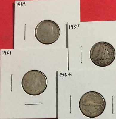 1939 1951 1961 & 1967 Canada SILVER TEN CENTS set of 4! Old Canadian
