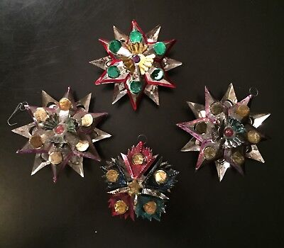 Vintage Mexican Folk Art Punched Pierced Tin STARS Christmas Tree Ornaments Lot