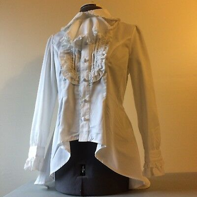 White Bodyline Jabot Cravat Tie Blouse Button Long Sleeve Sweet Gothic Lolita Jp