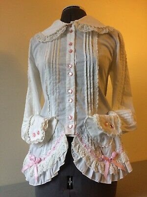 White Bodyline Shirring Corset Blouse  Pink Heart Button Pockets Sweet Lolita JP