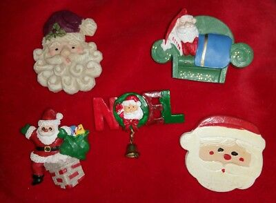 Lot Of 5 Vintage Santas Christmas Themed Brooches Pins Mixed Materials Evc!