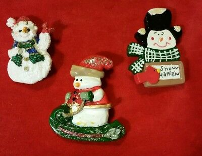Lot Of 3 Vintage Christmas Snowmen Multi-Style Mixed Materials Brooches Pins