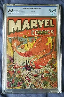 Marvel Mystery Comics #47 Sept. 1943 Cbcs 3.0 G/vg Human Torch, Toro And Vision