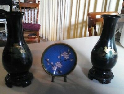 VINTAGE ASIAN COLLECTABLES:Pair of Hand-painted Celluloid Vases + Cloisonne Dish