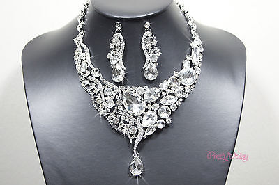 Bridal Wedding Party Jewelry Set Crystal Clear Rhinestone Necklace & Earrings