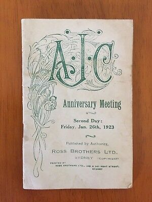 1923 AJC Anniversary Meeting Day 2 race book Adrian Knox Stakes