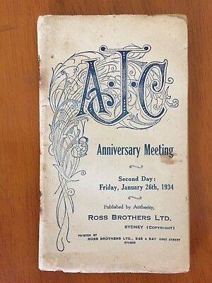 1934 AJC Anniversary Meeting Day 2 race book Adrian Knox Stakes