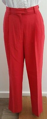 Vintage 1980s FLETCHER JONES Pleated RED Linen Blend Dress Career Pants size 12